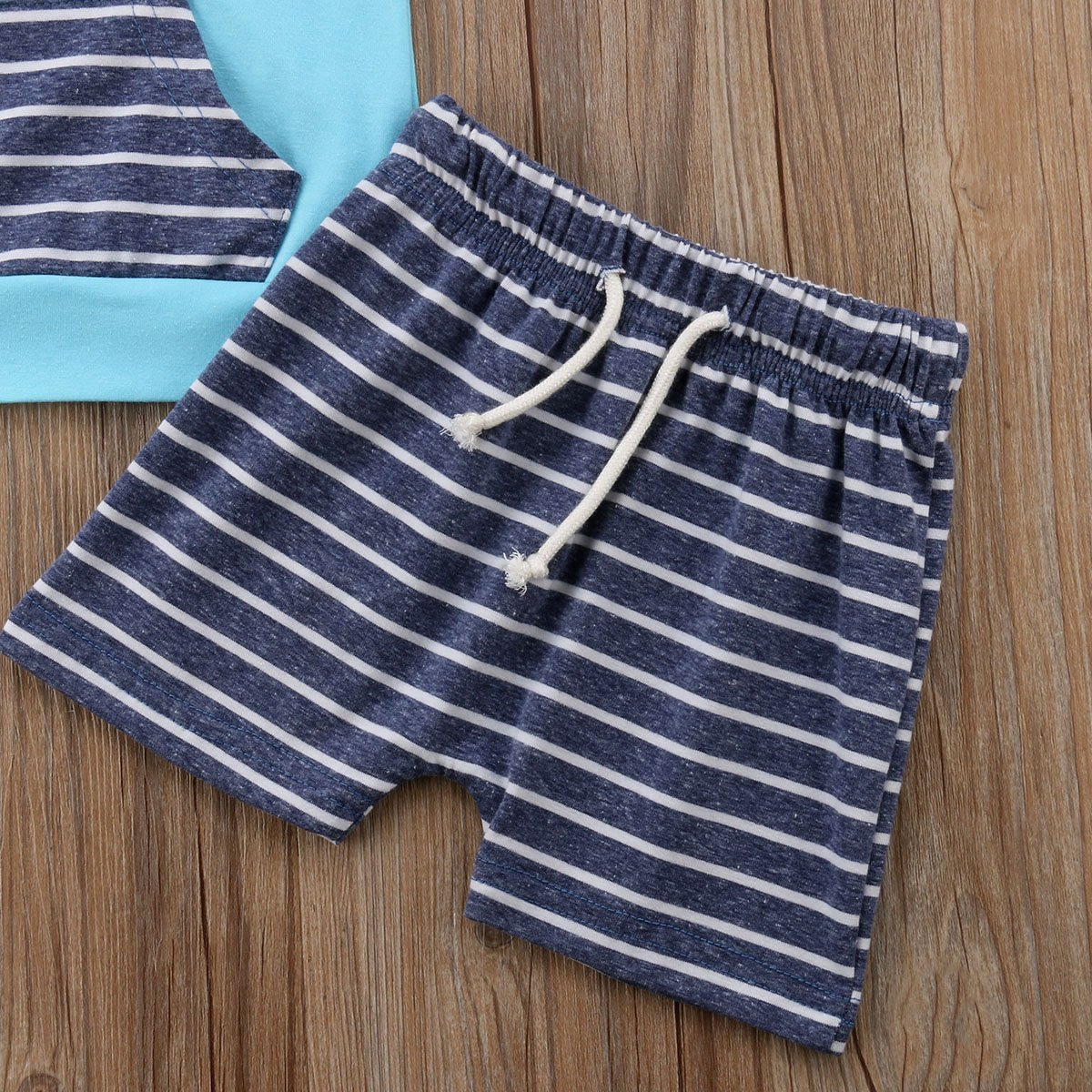 Newborn Baby Outfits Clothes Stripes Hoodie Sweatshirts Tops Short Pants Outfits Headband Baby Boys Girls Clothing Set