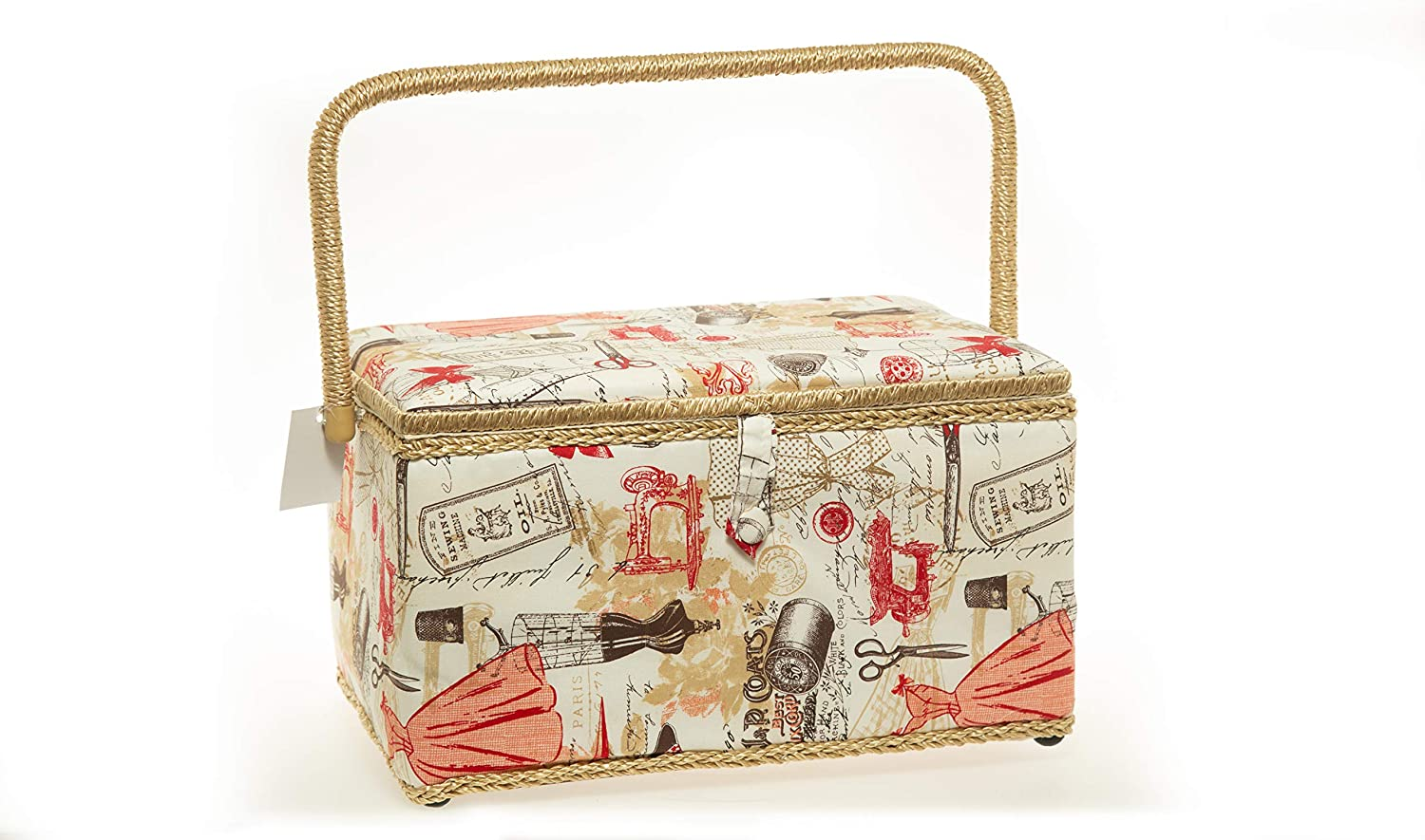 Allary Large Rectangle Sewing Basket with Tray Pincushion 11.5x7x 6.5