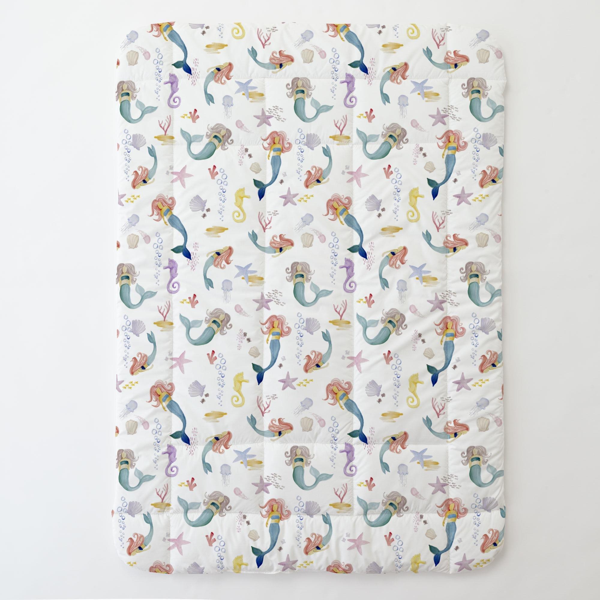 Carousel Designs Watercolor Mermaids Toddler Bed Comforter