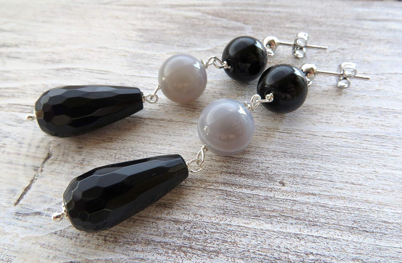Pendientes de plata de ley 925, pendientes de onyx negro y agata gris, pendientes colgantes largos, joyas de piedras semi preciosas, joyas para mujer
