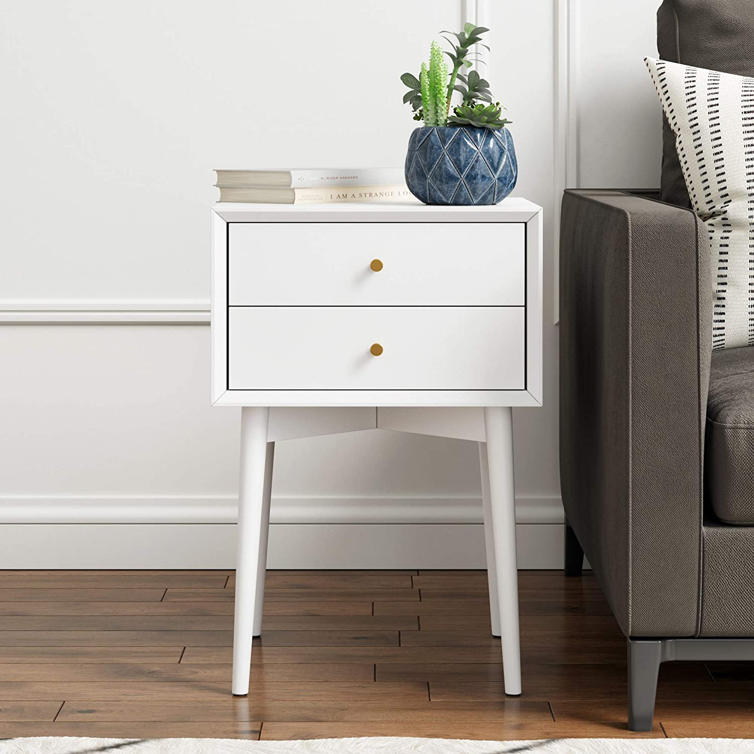 Amazon com nathan james 32701 harper mid century side table two drawer nightstand white kitchen dining