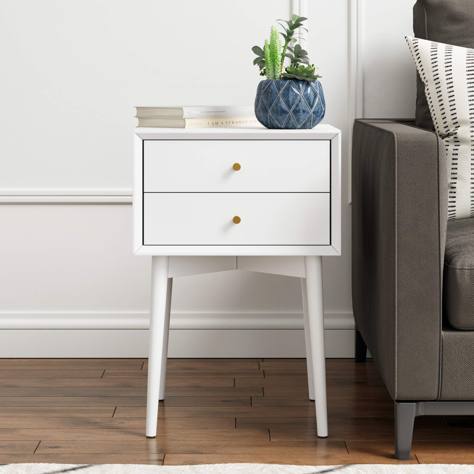 Nathan James Harper Mid-Century Side Table 2-Drawer, Wood Nightstand, White by Nathan James