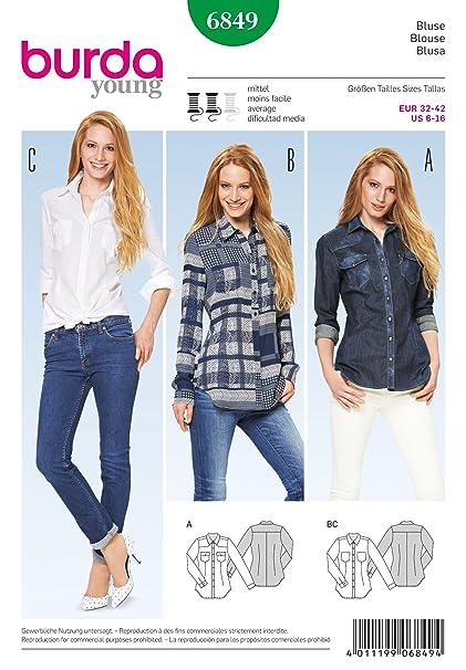 Amazon Com Burda Sewing Pattern 6849 Burda Style Tops Shirts