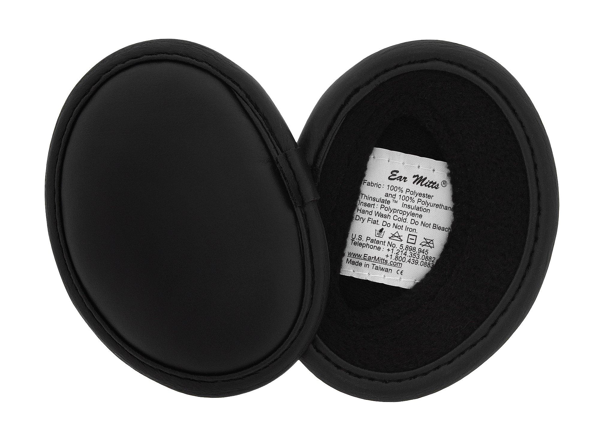 Ear Mitts Bandless Ear Muffs, Black Faux Leather Ear Warmers, Regular