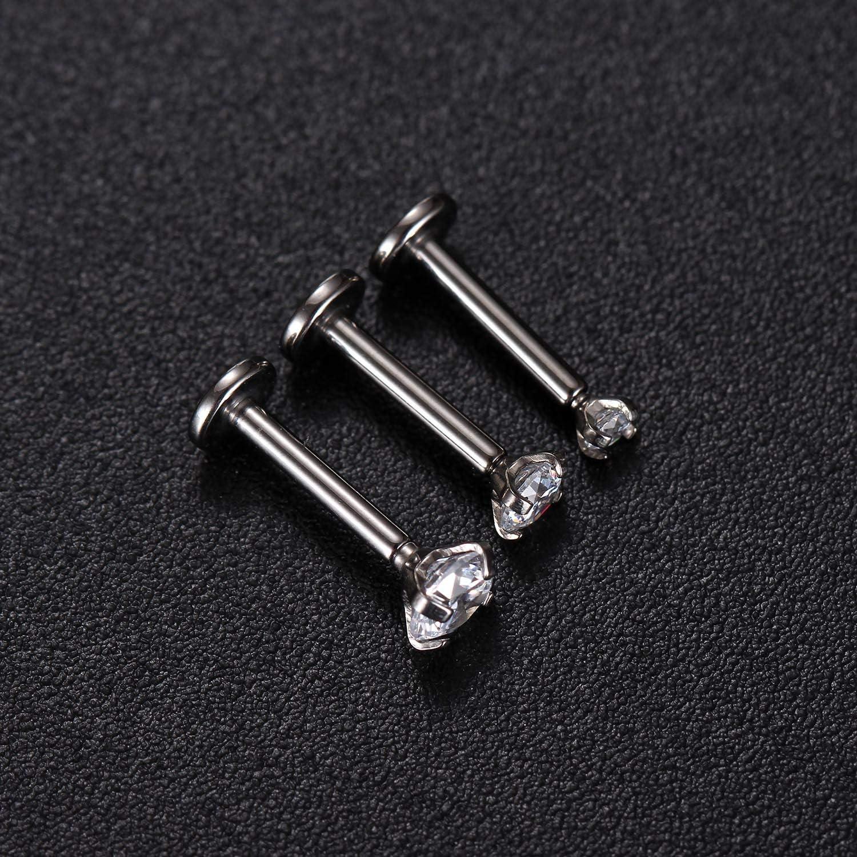 GAGABODY G23 Titanium 16G 6//8//10mm Clear CZ Internally Threaded Labret Monroe Lip Studs 6mm Helix Cartilage Tragus Earring Piercing