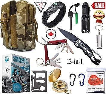 1 jour d/'urgence Kit de Survie Camping Randonnée Chasse Pêche Avec Camouflage Fanny Pack