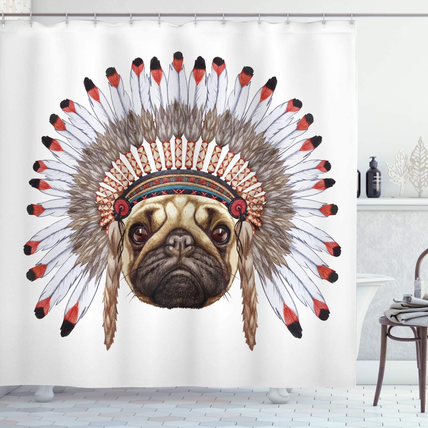 Amazon Com Ambesonne Pug Shower Curtain Portrait Of A Dog Native With Bonnet Hand Drawn Illustration Of Fun Animals Design Fabric Bathroom Decor Set With Hooks 84 Long Extra Red Black Tan Home