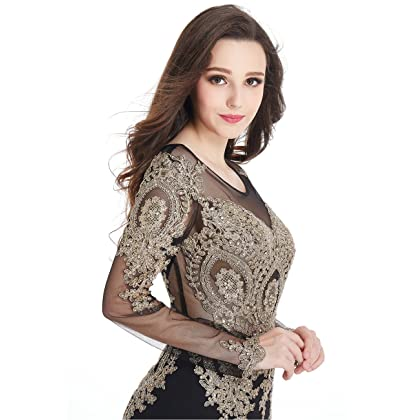 d58f275db7 ... Long Sleeve Mermaid Evening Dress with Gold Lace Applique Crystals Maxi  Prom Gowns for Women Black ...