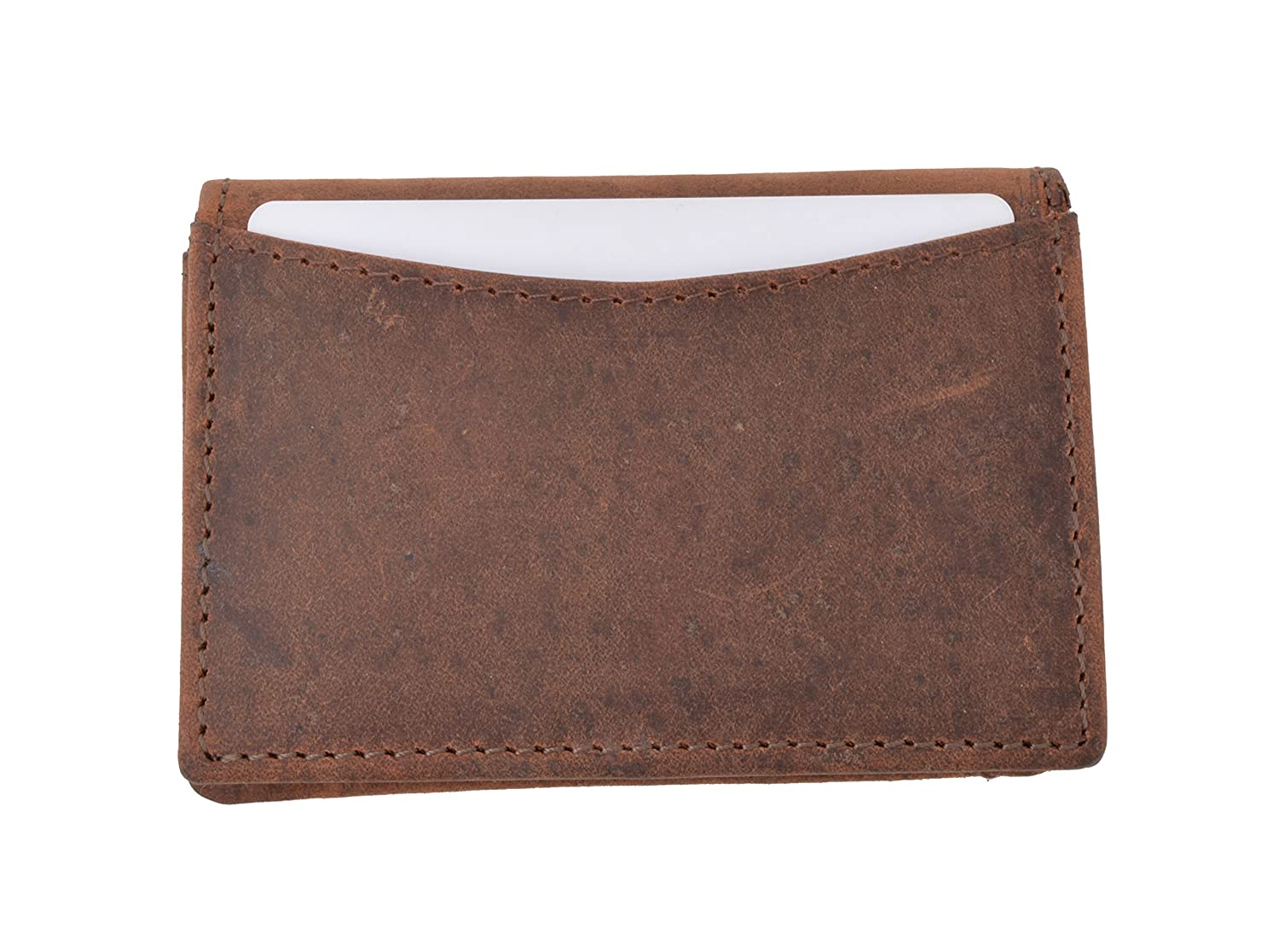 Soft Vintage Genuine Leather RFID Business Card ID Holder with Expandable Pocket