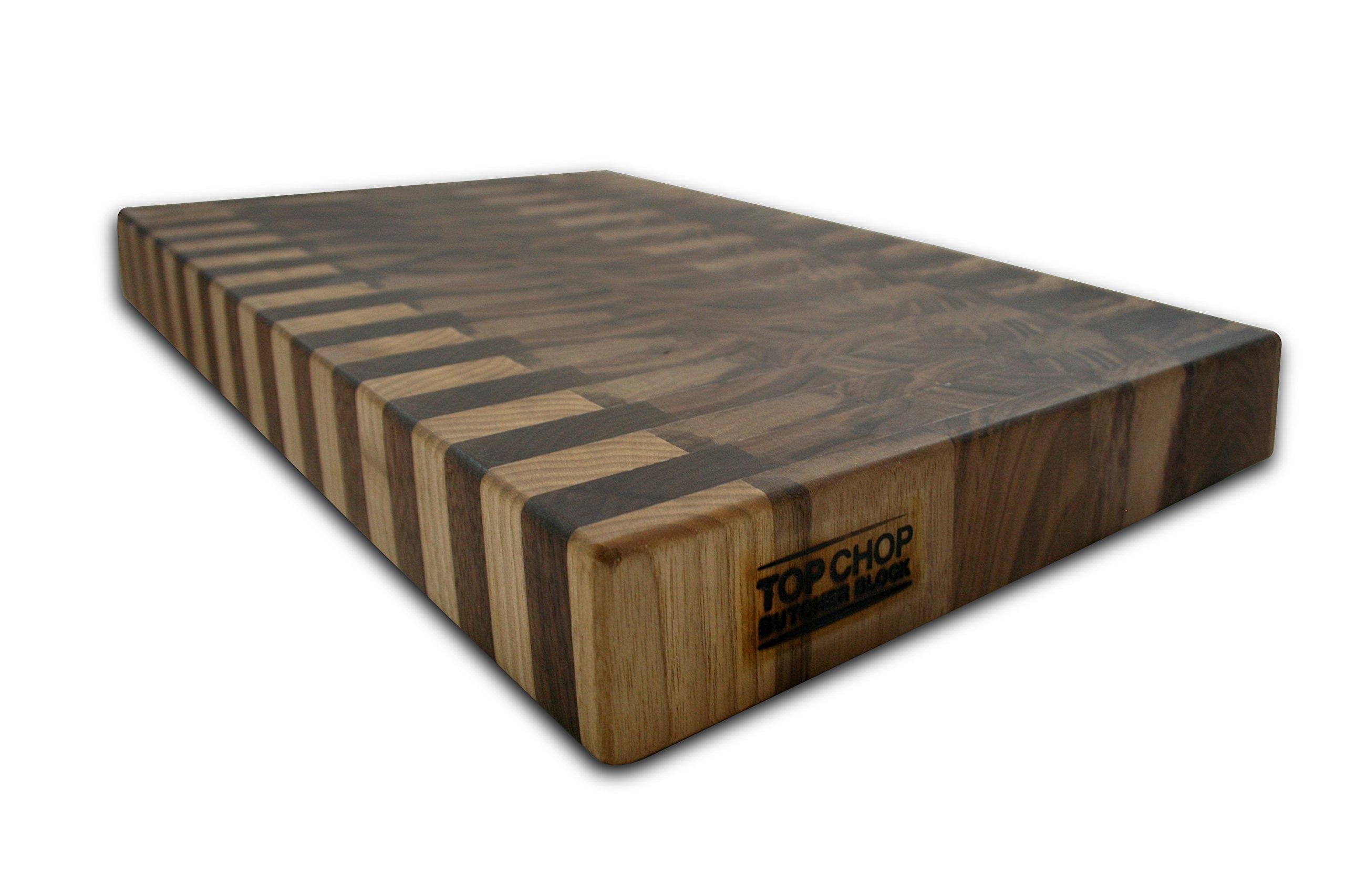 Top Chop Butcher Block Premium Reversible End Grain Cutting Board, Walnut, 12'' x 18'' x 2''