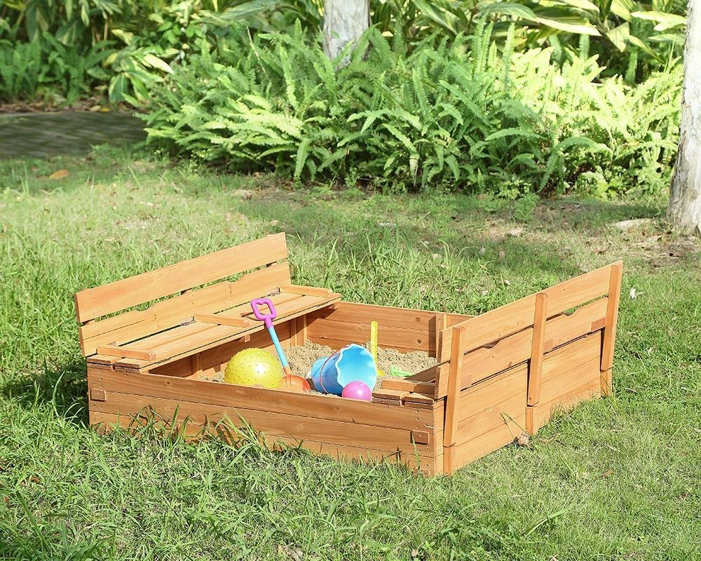 Naomi Home Kids Cedar Sandbox with 2 Convertible Benches