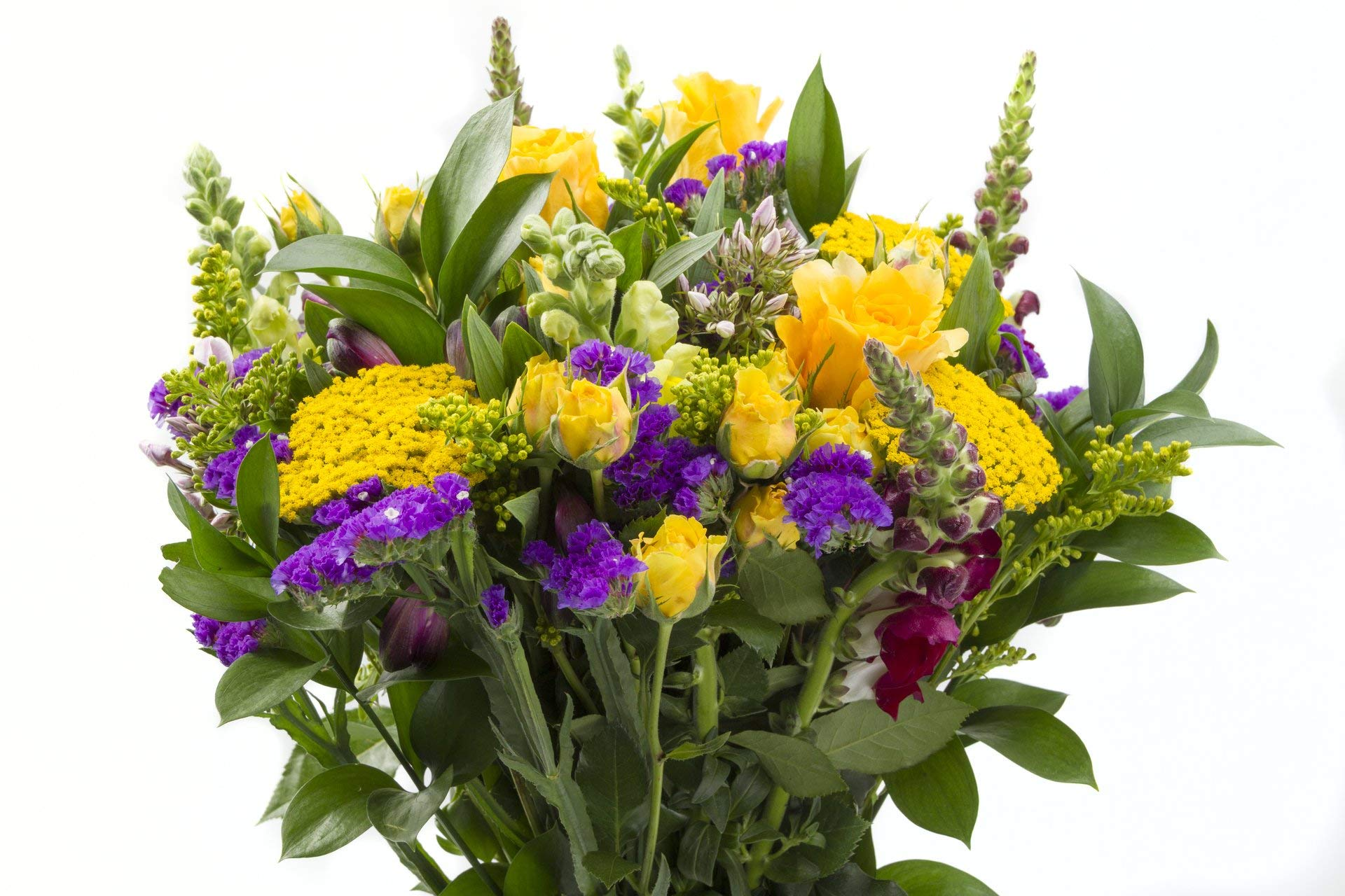 Chichi Party Purple and Yellow Flowers with Roses, Snapdragons, and More Sustainably Grown and Harvested, No Vase Included by BloomsyBox (Image #3)