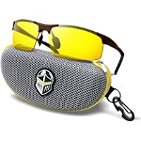 BLUPOND Night Driving Glasses - Semi Polarized Yellow Tint HD Vision Anti Glare Lens - Unbreakable Metal Frame with Car Clip Holder - Knight Visor