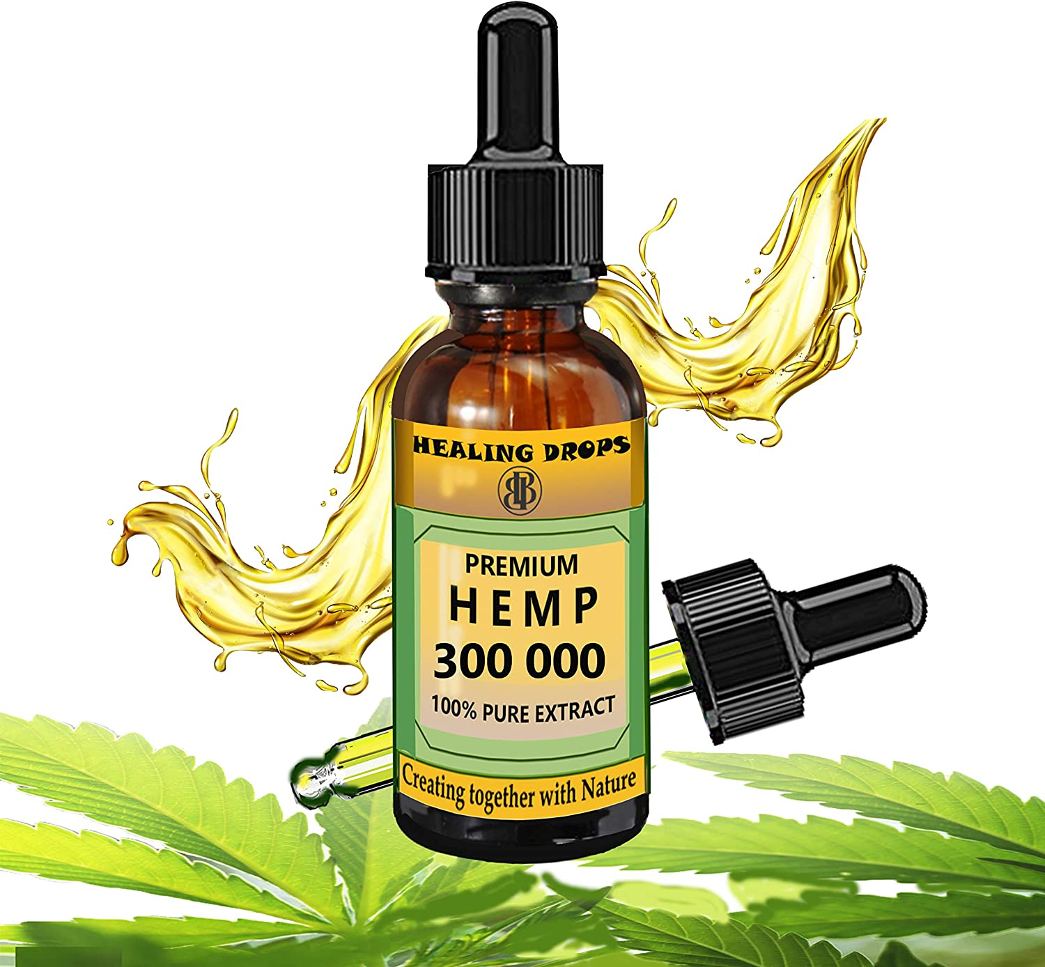 Hemp Oil Drops 300 000 mg 100% Natural Extract, Supports Anti Anxiety and Stress, Natural Health, Dietary Supplement Rich in Omega 3 6 9 Fatty Acids for Skin & Heart & Immune Support