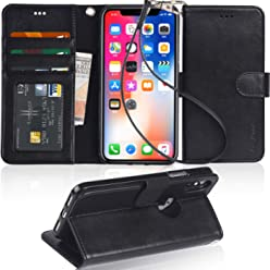 Arae iPhone XS Case,iPhone X Case PU Leather Wallet Case With Card Slots For iPhone XS/X,Black