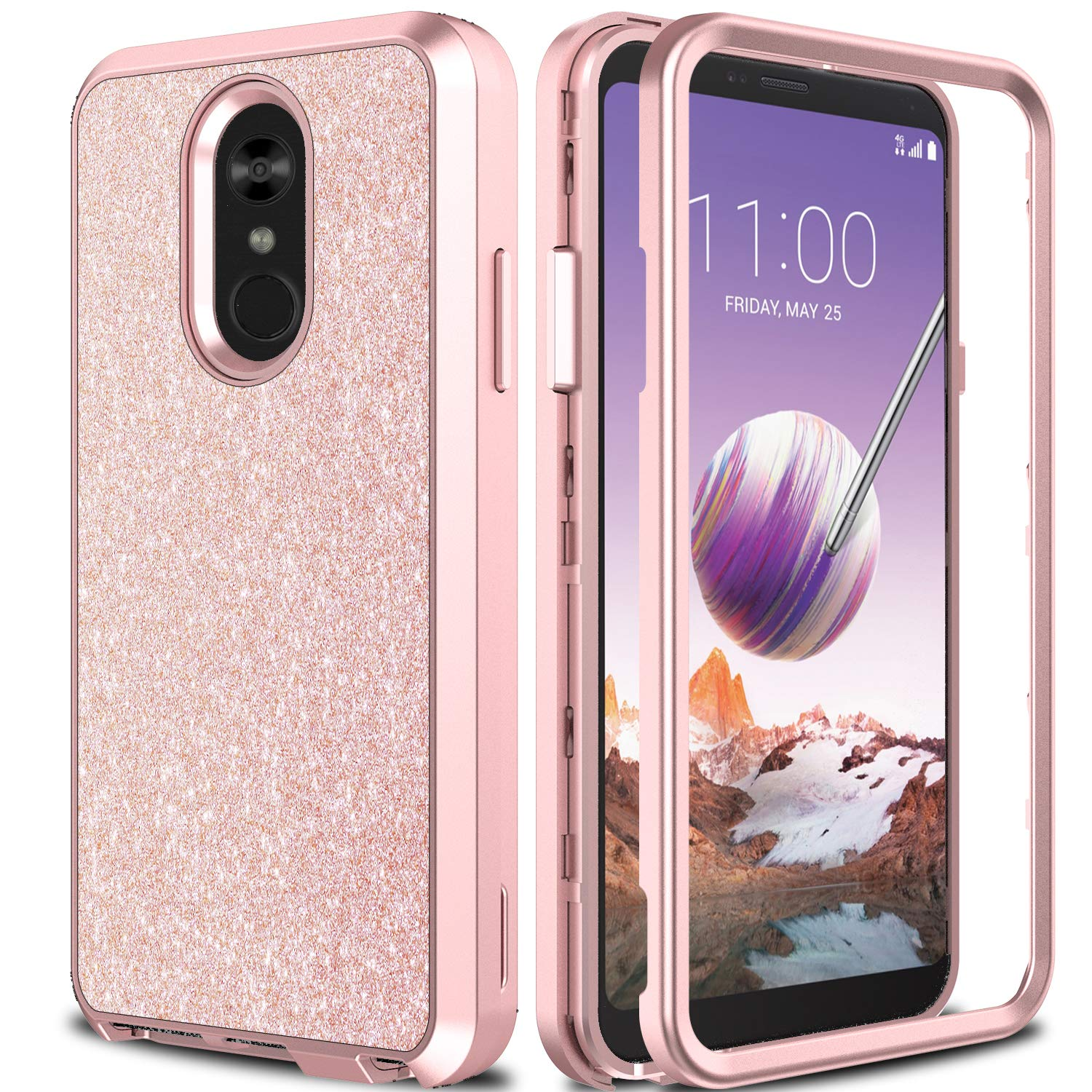 LG Stylo 4 Case, LG Q Stylo Case 2018 AMENQ Heavy Duty Glitter Sparkle Bling Design with Shockproof Premium TPU Armor and Rugged PC Back Cover for New LG Phone (Sparkle Rose Gold)