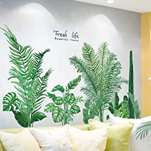 Green Tropical Leaves Wall Decal, Nature Palm Tree Leaf Plants Wall Sticker Cactus DIY Art Murals, Fresh Leaves Wall Decor for Bedroom Living Room Classroom Offices Home Decoration
