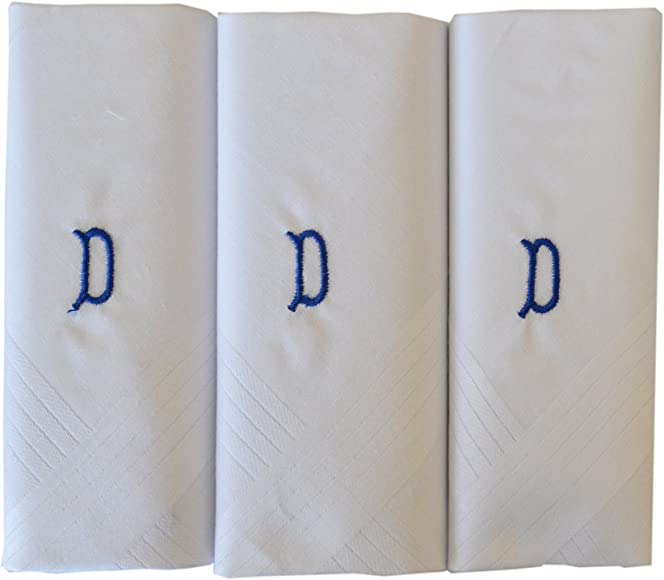 ETHO Mens 3 Pack White Handkerchiefs With 1 Letter Name Initials