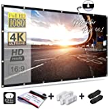 Mdbebbron 120 inch Projection Screen 16:9 HD Foldable Anti-Crease Portable Projector Movies Screen for Home Theater Outdoor Indoor Support Double Sided Projection