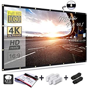 Mdbebbr 120 inch Projection Screen 16:9 HD Foldable Anti-Crease Portable Projector Movies Screen for Home Theater Outdoor Indoor Support Double Sided Projection