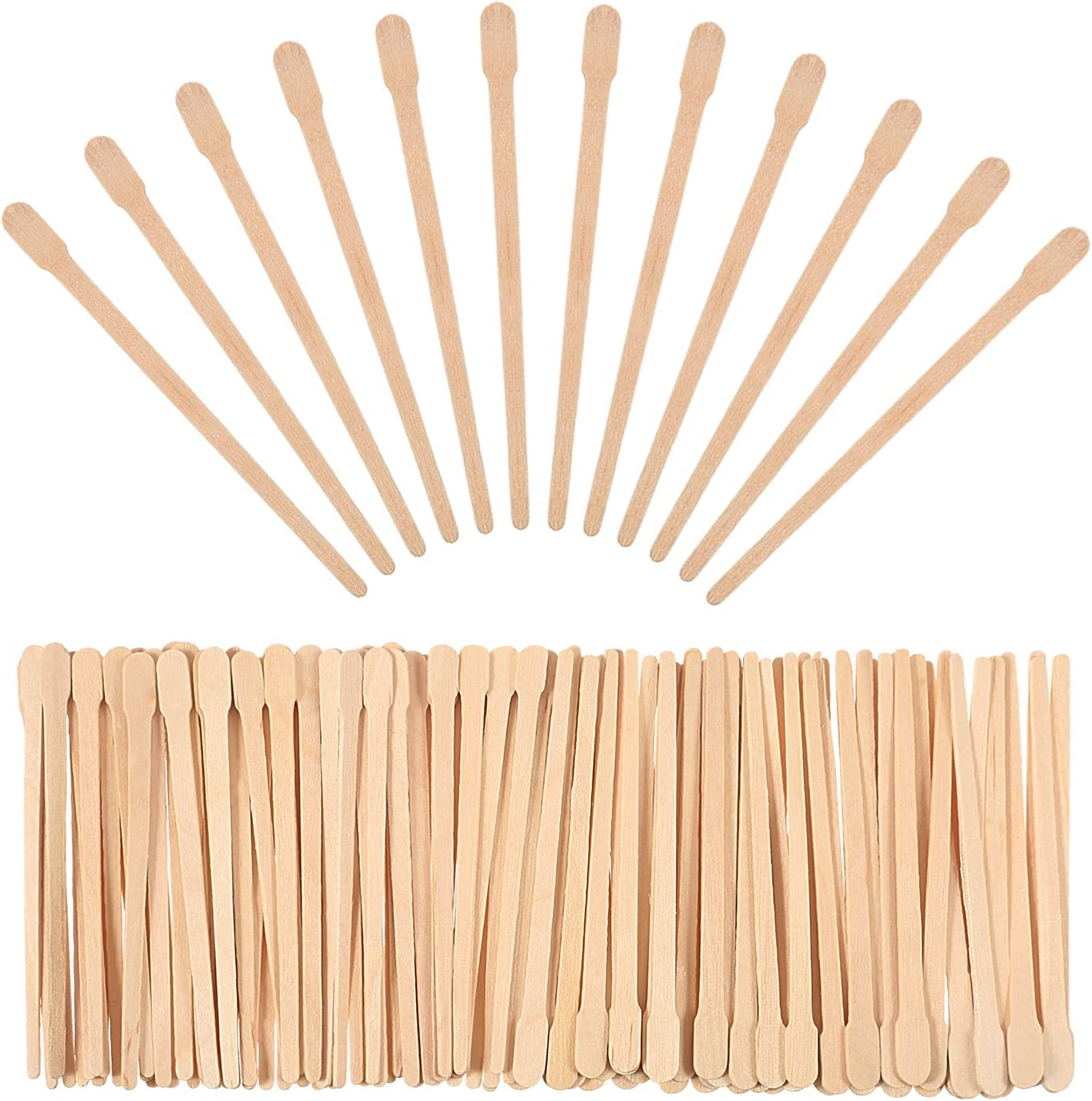 Bememo 500 Pack Wax Spatulas Wood Craft Sticks Small for Hair Removal Eyebrow Wax Applicator Sticks