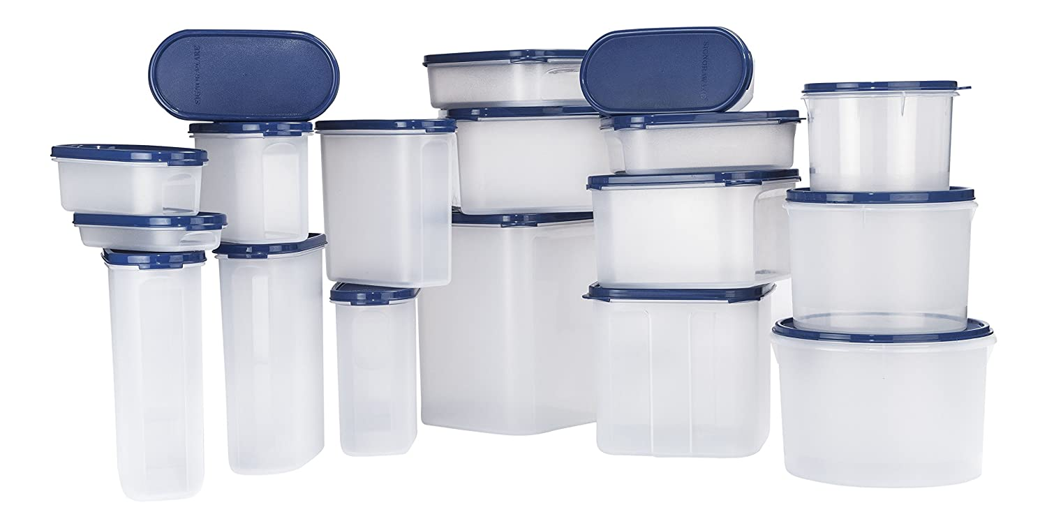 Signoraware Easy Kitchen Plastic Container Set, 18-Pieces, Blue