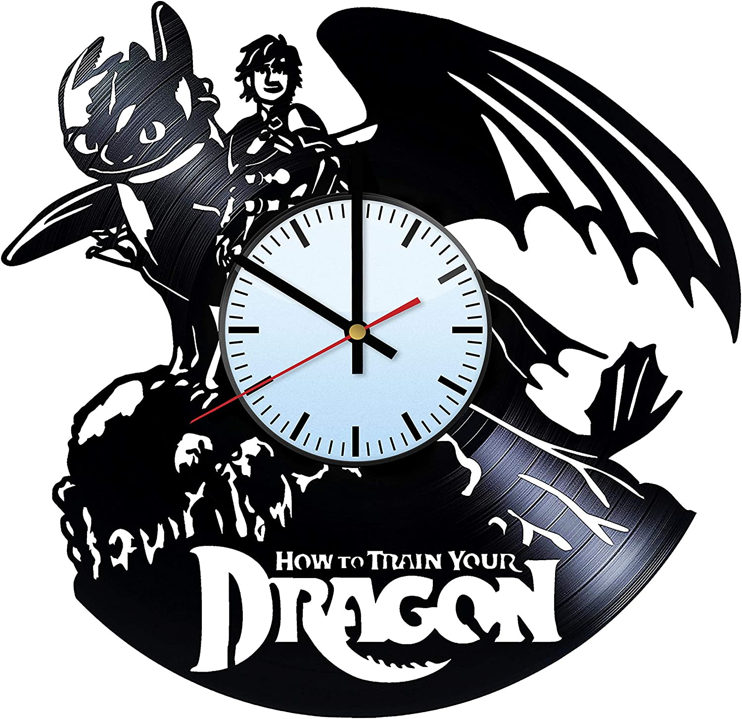 How to Train Your Dragon Handmade Vinyl Record Wall Clock - Unique Bedroom and Living Room Decor Great Gift Idea