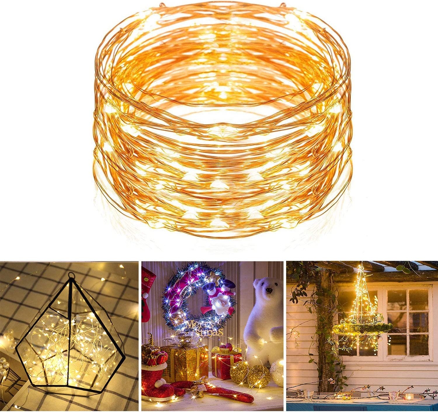 USB Connector LED String Fairy Lights 5//10M 100 LEDs Copper Wire Party Decor LD