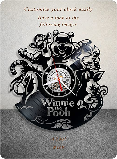 vinyl record clock pooh bear winnie-the-pooh walt disney classics a.a Winnie the Pooh vinyl clock a2 milne teddy bear wall art home decor kids gift 169 - vinyl wall clock