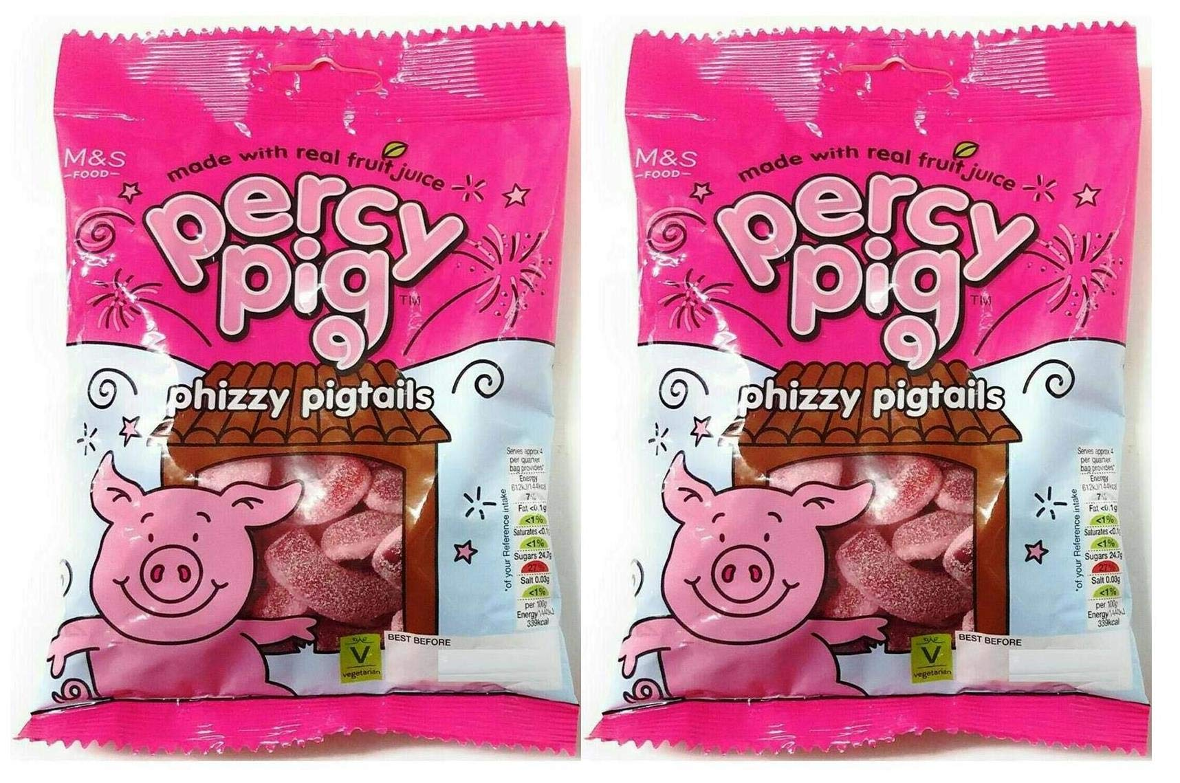 Marks & Spencer   Percy Pigs -Phizzy Pig Tails   2 x 170g Bags