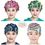 Womens Surgical Scrub Cap, Medical Doctor Bouffant Hat With Cotton Sweatband Chemo Cap, One Size, 4 Colors