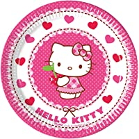 Procos 81792–Hello Kitty Hearts Paper Plates, Pink/White