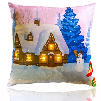 Merry Christmas Throw Pillow – Light Up LED Lights, Printed Cushion Cover with Filling | Bright & Colorful Holiday Season Great Gift Xmas Decorative ...