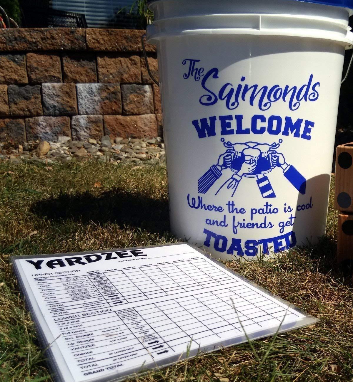 Personalized YARDZEE Bucket Decal & Laminated Scorecards Outdoor Lawn Yard Dice Farkle Game Gift