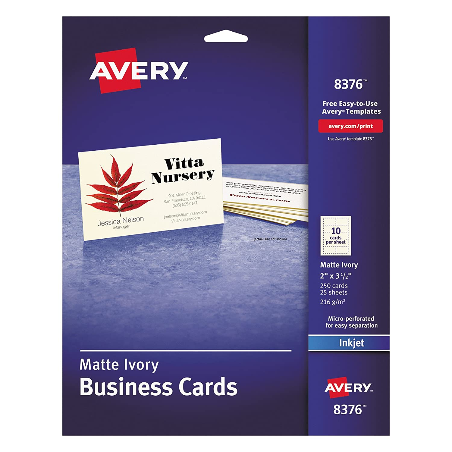 Amazon.com : Avery 8376 Printable Microperf Business Cards, Inkjet ...