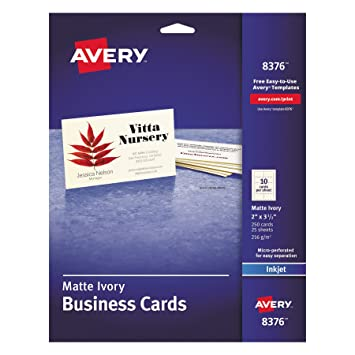 Amazon avery 8376 printable microperf business cards inkjet amazon avery 8376 printable microperf business cards inkjet 2 x 3 12 ivory matte pack of 250 business card stock office products wajeb Choice Image
