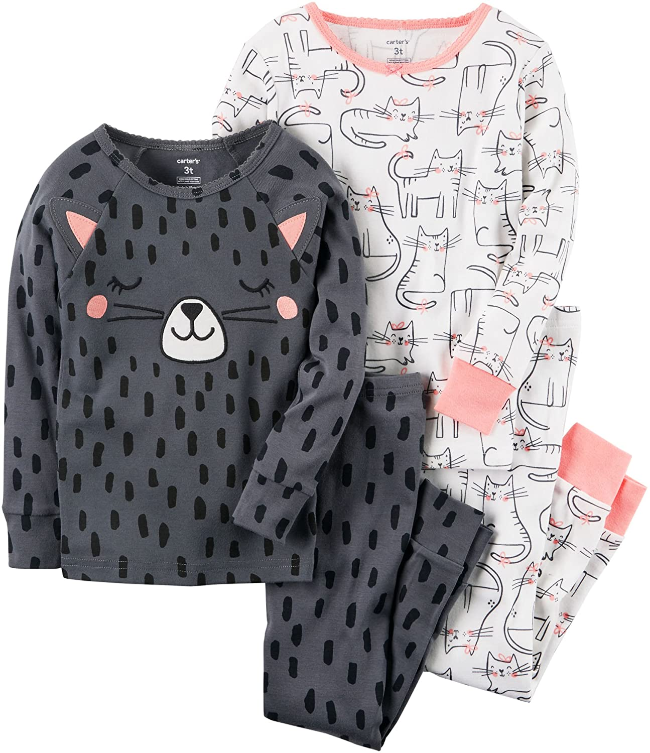 Carter's Girls' 2T-4T 4 Piece Cat Snug Fit Cotton PJS