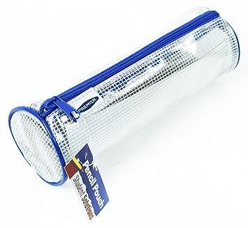 Estuche portatodo cilindro transparente azul malla ...