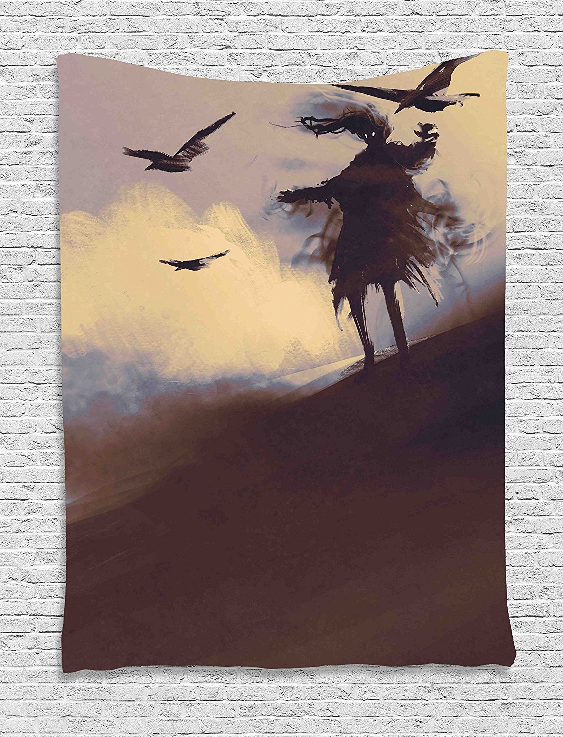 Horror Decor Tapestry, Dark Soul From a Scary Movie Film on the Hills with Clouds and Flying Crows Print, Wall Hanging for Bedroom Living Room Dorm, 40 W x 60 L Inches, Black