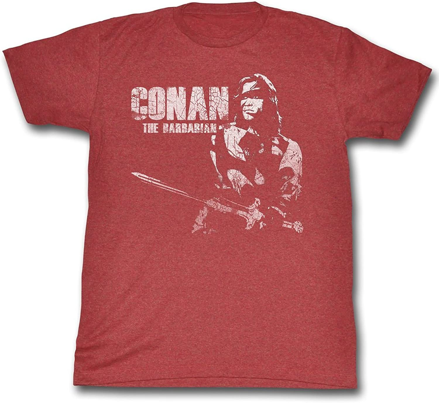 Conan Shirts The Barbarian Adult Heather Red Tee T-Shirt