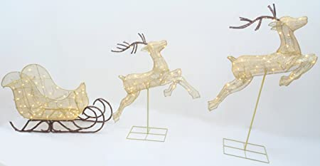 christmas concepts 132cm 52 light up led bronze glitter reindeers with sleigh