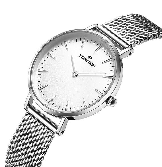 Tonnier Relojes Mujer Slim Acero Inoxidable Correa de malla de cuarzo reloj de malla (plata
