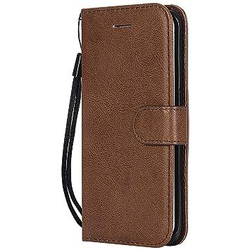 DENDICO Funda Galaxy S6 Edge Plus, Flip Libro Cuero Carcasa, Diseño Clásico Funda Plegable Cover para Samsung Galaxy S6 Edge Plus - Marrón