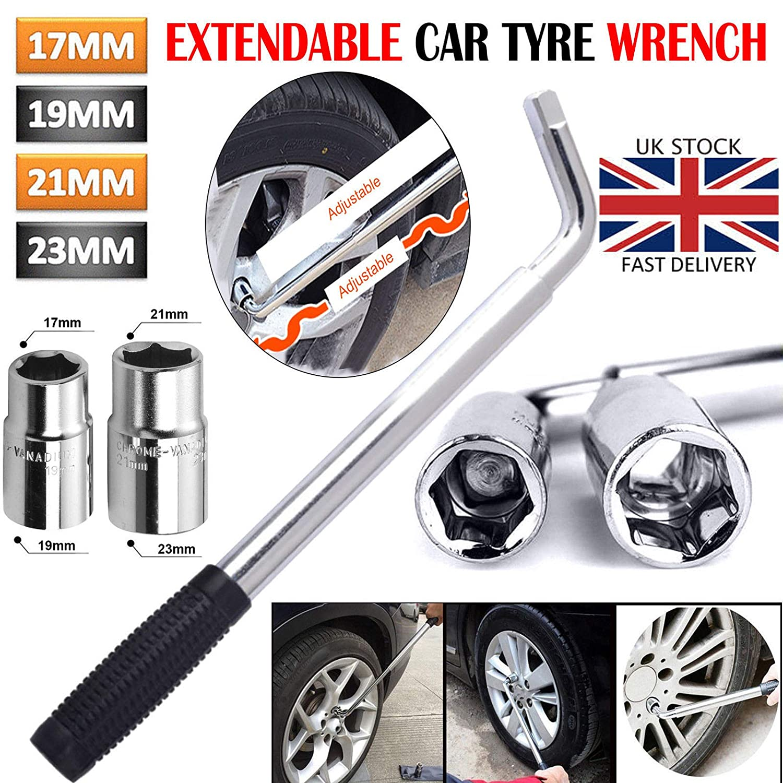 Extendable Tyre Repair Tool Heavy Duty Car VAN Telescopic Wheel Brace Socket Nut Tyre Wrench 17 19 21 23mm