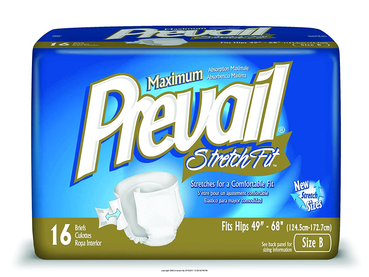 Amazon.com : Prevail StretchFit Brief, Prevail Stretch Fit Brf Sz B, (1 PACK, 16 EACH) by First Quality : Incontinence Protective Underwear : Beauty