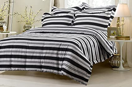 5pc Black And White Striped Duvet Cover Set Style # 1008   King/California  King