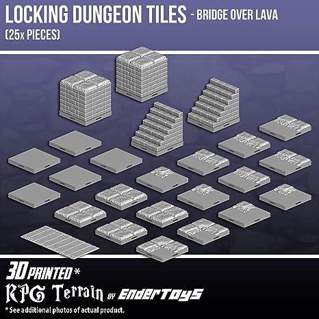 amazon com locking dungeon tiles bridge over lava terrain