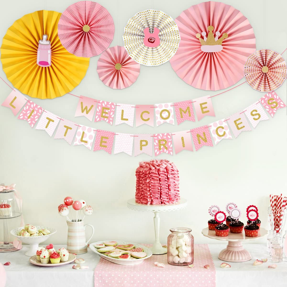 Unomor Baby Shower Decorations Girls Welcome Little Princess Banner With 6 Paper Fans For Baby Girl Shower Party Decoration Pink Amazon Co Uk Kitchen Home