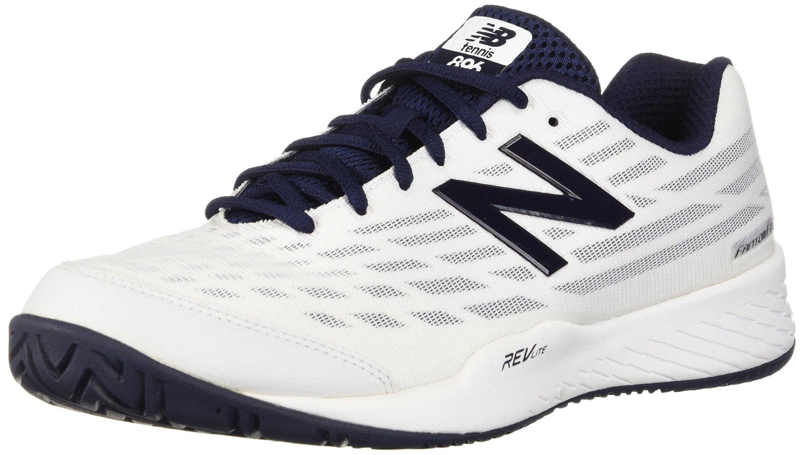 New Balance Men's 896v2 Hard Court Tennis Shoe, White, 11 2E US
