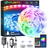 LED Strip Lights, HitLights 16.4ft WiFi APP Control Smart LED Strip Lights, Waterproof Music Sync 16 Million Colors RGB…